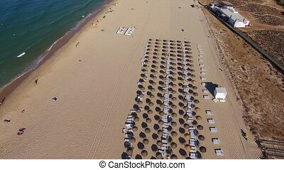 Flight filming over the beach Falesia. Algarve Portugal