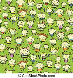Happy children seamless background