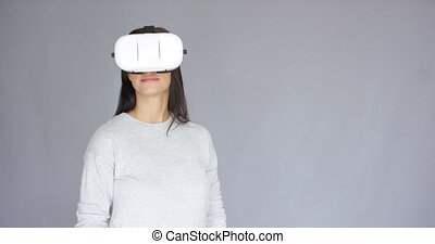 Woman with Virtual Reality 3D glasses - Long haired...