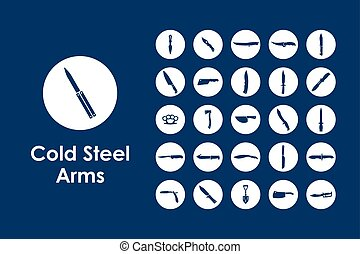 Set of cold arms simple icons - It is a set of cold arms...