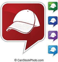Baseball cap Speech Balloon Icon Set - Baseball cap speech...