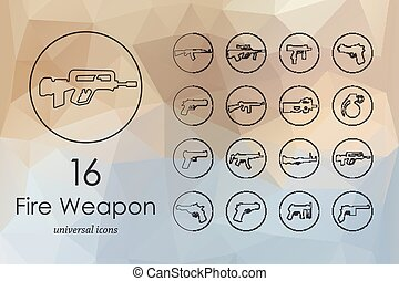Set of firearms icons - firearms modern icons for mobile...