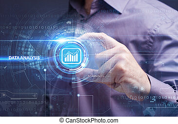 Business, Technology, Internet and network concept. Young businessman working on a virtual screen of the future and sees the inscription: data analysis