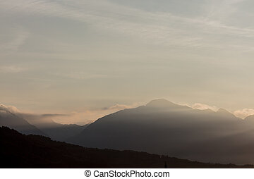 unedited mountain landscape at the gates of dawn in northern...