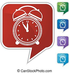 Alarm clock Speech Balloon Icon Set - Alarm clock speech...