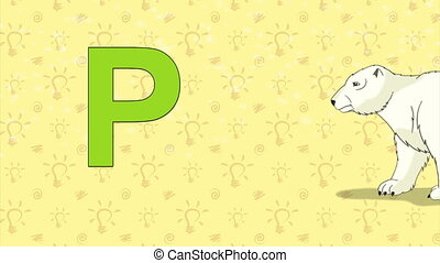 Polar bear. English ZOO Alphabet - letter P - Animated...