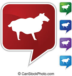 Sheep Speech Balloon Icon Set - Sheep speech balloon icon...