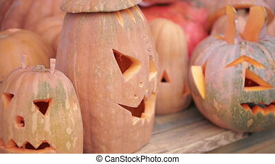 Halloween pumpkins in autumn forest. scary face - Halloween...