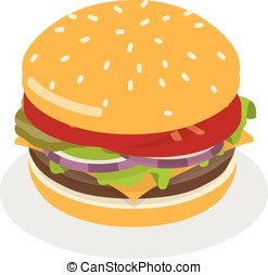 cheeseburger - isometric cheeseburger