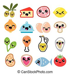 Kawaii cute food characters - meat, vegetables, diary icons...