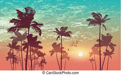 Silhouette of tropical palm trees at sunset or sunrise, with...