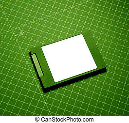 Modern fast SSD Solid State Drive on green technological...