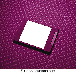 Modern fast SSD Solid State Drive on purple technological...