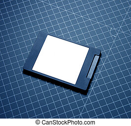 Modern fast SSD Solid State Drive on blue technological...