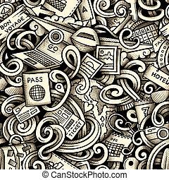Cartoon doodles Travel season seamless pattern. Graphics...