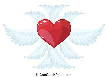 angel wings over white background. vector illustration -...