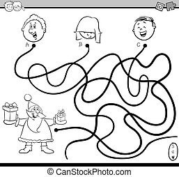 path maze activity coloring page - Black and White Cartoon...