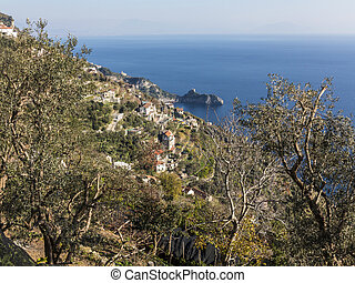 Panorama, Amalfi Coast, Italy under blue sky with trees