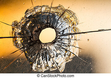Bullet of hole - Bullet hole on the window