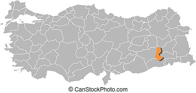 Map - Turkey, Batman - Map of Turkey with the provinces,...