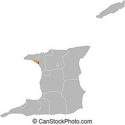 Map - Trinidad and Tobago, Port of Spain - Map of Trinidad...