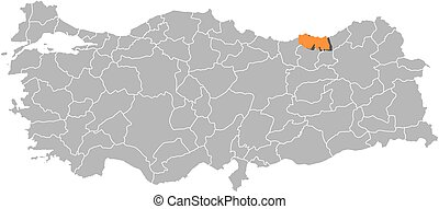 Map - Turkey, Trabzon - Map of Turkey with the provinces,...