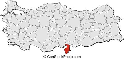 Map - Turkey, Hatay - Map of Turkey with the provinces,...
