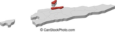Map - East Timor, Dili - 3D-Illustration - Map of East Timor...