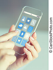 close up of woman with app icons on smartphone - business,...