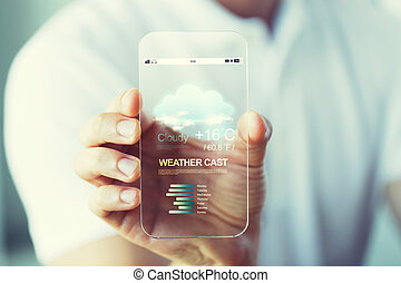 close up of hand with weather cast on smartphone - business,...