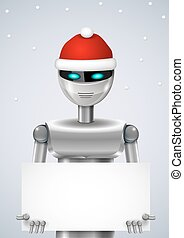 Robot Santa Claus with a box or banner. Vector graphics
