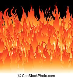 Fire flames on a black background. Vector illustration