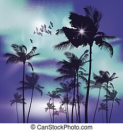 Palm trees at sunset. - Palm trees at tropical sunset, blue...
