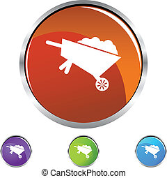 Wheel Barrow - Wheel barrow web button isolated on a...