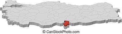 Map - Turkey, Hatay - 3D-Illustration - Map of Turkey as a...