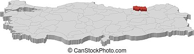 Map - Turkey, Trabzon - 3D-Illustration - Map of Turkey as a...