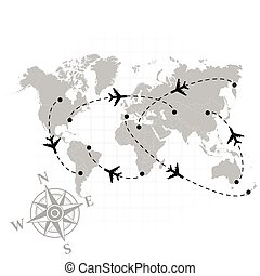 World map with airplanes - Gray silhouette of world map with...