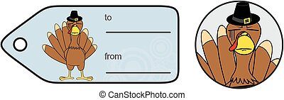 thanksgiving funny turkey cartoon giftcard in vector format...