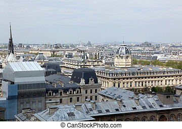 view of Paris with the Seine river from the Notre Dame...