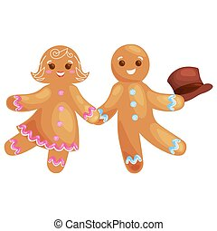 set christmas cookies gingerbread man and girl decorated...