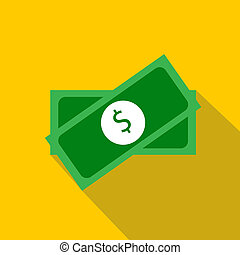 Two packs of money icon, flat style - Two packs of money...