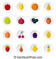 Fruit icons set, flat style - Fruit icons set. Flat...