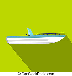 Motor speed boat icon, flat style - Motor speed boat icon....