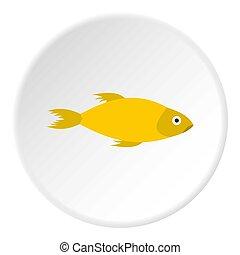 plano, estilo, pez, amarillo, icono, marina