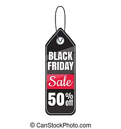 Tag black friday sale fifty percent discount icon. Cartoon...