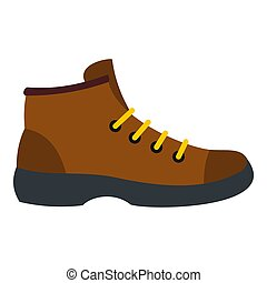 Hiking boot icon, flat style - Hiking boot icon. Flat...