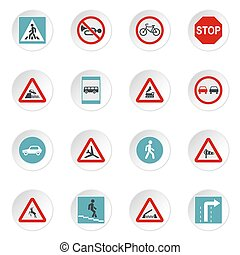 Road signs icons set, flat style - Road signs icons set....