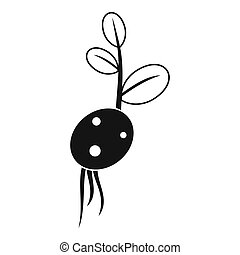 Potato sprout from the root icon, simple style