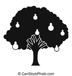 Pear tree with pears icon, simple style - Pear tree with...