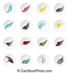 Wing icons set, flat style - Wing icons set. Flat...